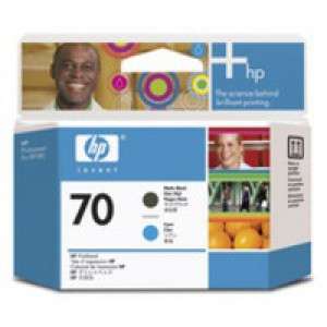 Hewlett Packard No70 Print Head Matte Black/Cyan C9404A