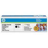 Hewlett Packard No304A Colour LaserJet Toner Cartridge Black Twin Pack CC530AD