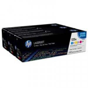 HP 125A Cyan Yellow and Magenta Laserjet Toner Cartridges with a yield of up to 1400 pages each.