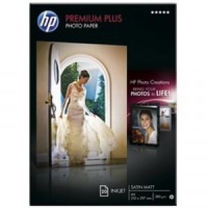 Hewlett Packard Photo Paper 300gsm Semi-Gloss A4 Pack of 20 CR673A