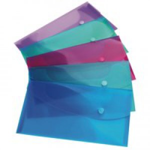 Rapesco Popper Wallet Foolscap Pack of 5 Assorted 0688