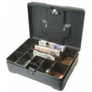 Helix High Capacity Cash Box 300mm Deep With Coin Tray 8-Part And Note Section 3-Part Code CM8020