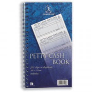 Challenge Petty Cash Book Carbonless Wirebound 200 Sets in Duplicate 280x152mm Ref 100080052