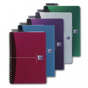 Oxford Office Notebook A4 Soft Polypropylene Cover Assorted Ruled Feint Pack of 5 100101918