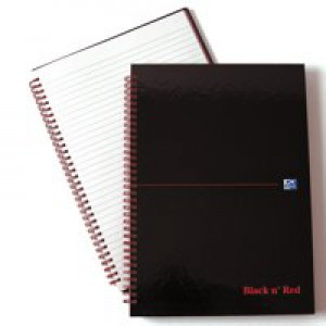 Black n Red Wirebound HardBack Notebook A4 140 Pages Ruled Feint B67004