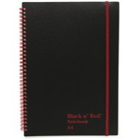 Black n Red Wirebound Elasticated Notebook A4 Polypropylene 140 Pages Feint 846350111