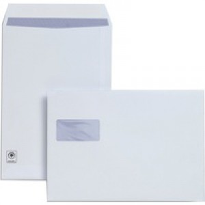 Plus Fabric Envelope C4 Window White Prestige 120gsm Pocket Peel and Seal Pack of 250 F28749