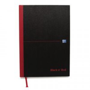 Black n Red Casebound Manuscript Book 192 Pages A4 Ruled Narrow Feint 100080474