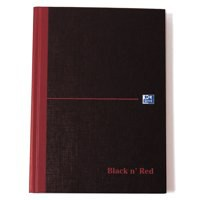 Black n Red Casebound Manuscript Book 192 Pages 297x140mm Ruled Feint 100080528