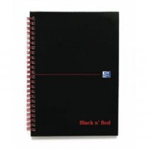 Black n Red Wirebound Notebook A5 140 Pages Ruled Feint Perforated 846350112