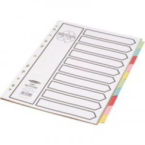 Concord Recycled Dividers 230 micron Card with Coloured Tabs 10-Part A4 White Ref 48199