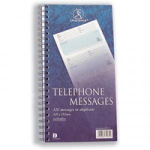Challenge Telephone Message Book Wirebound Carbonless 320 Messages 305x152mm Code K71975