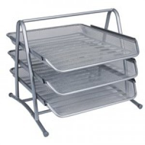 *Q-Connect 3-Tier Letter Trays Silver KF00822