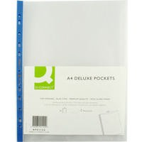 Image for Q-Connect Punched Pocket A4 Deluxe Top-Opening Blue Strip Pack of 25