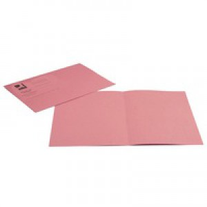 Q-Connect Square Cut Folder Medium-weight 250gsm Foolscap Pink