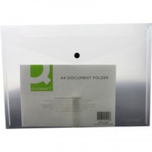 Q-Connect Document Folder Plastic A4 Clear Popper KF01244Q