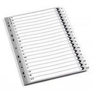 Q-Connect Index A4 Multi-Punched A-Z 20-Part Polypropylene White