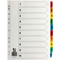 Q-Connect Index A4 Multi-Punched 1-10 Reinforced Multi-Colour Tabbed