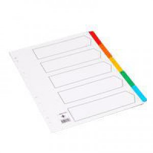 Q-Connect Index A4 Multi-Punched 5-Part Reinforced Multi-Colour Blank Tabs KF01525