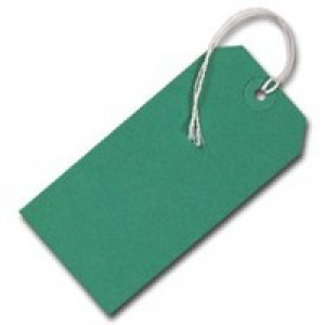 Q-Connect Strung Tag 120x60mm Green Pack of 1000 KF01624