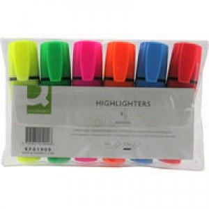 Q-Connect Highlighter Pen Assorted Wallet of 6 KF01909