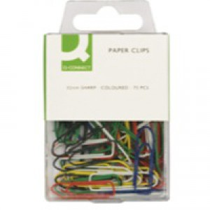 Q-Connect Paperclip 32mm Coloured Pack of 75 KF02023Q