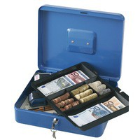 Q-Connect Cash Box 12 inch Blue