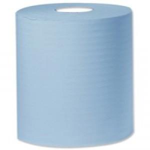 2Work Centrefeed Roll 1-Ply 300 Metre Blue Pk 6 C1B300
