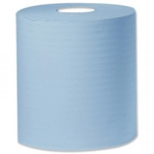 2work Centre Feed Roll 2-Ply 150 Metre Blue Pack of 6 C2B150