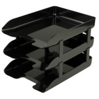 Q-Connect Executive Letter Tray Risers Black Pk 4 CP009KFBLK