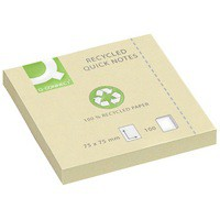 Q-Connect Quick Note Repositionable Pad Recycled 75x75mm Yellow