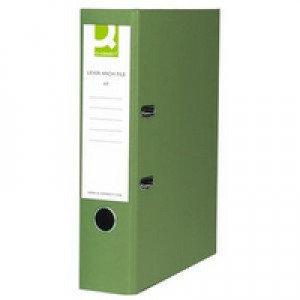 Q-Connect Lever Arch File Foolscap Paper-Backed Green KF20032