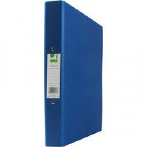 Q-Connect 2-Ring Binder A4 25mm Paper Over Board Blue KF20035