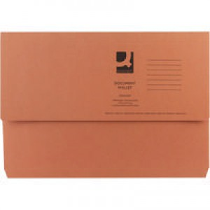 Q-Connect Document Wallet 285gsm Foolscap Orange