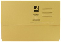 Q-Connect Document Wallet 285gsm Foolscap Yellow (Pk 50)