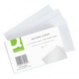 Q-Connect Record Card 5x3 inches Ruled Feint White Pack of 100 KF35204