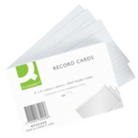 Q-Connect Record Card 6x4 inches Ruled Feint White Pack of 100