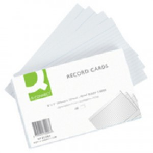 Q-Connect Record Card 8x5 inches Ruled Feint White Pack of 100 KF35206