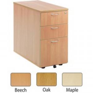 Jemini 3-Drawer Desk High Pedestal 800mm Oak KF72073