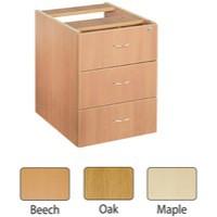 Jemini 3-Drawer Fixed Pedestal Oak
