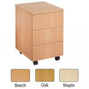 Jemini 3-Drawer Mobile Pedestal Maple KF72086