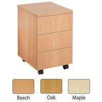 Jemini 3-Drawer Mobile Pedestal Maple