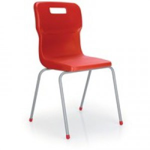 Titan 4 Leg Polypropylene School Chair Size 4 Red