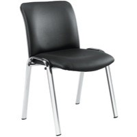 Avior Conference High Back Chrome Chair Black Leather Look