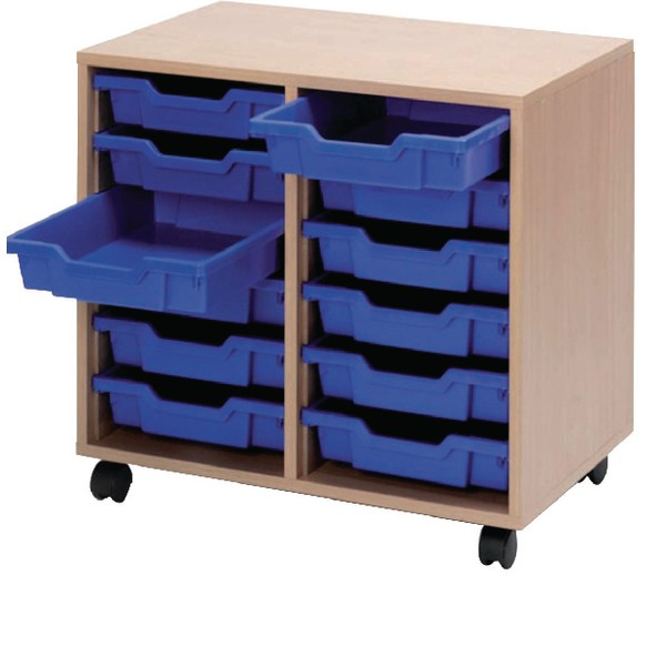 Jemini Mobile Storage Unit 12 Blue Trays Beech