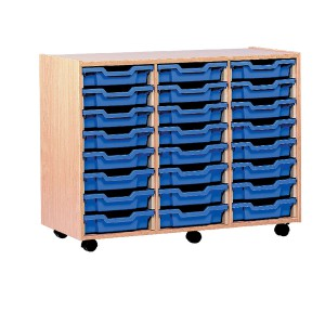 Jemini Mobile Storage Unit 24-Tray Beech TC24T