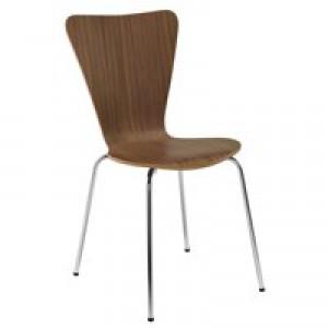 Arista Wooden Bistro Chair Walnut/Chrome CH0514WA (Set of 4 Chairs)