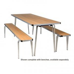Jemini Aluminium Folding Table Rectangular Beech W1830xD685xH698mm KF74026