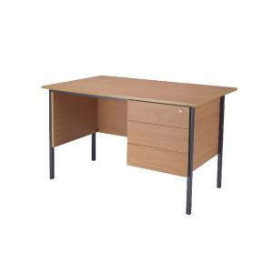 Jemini 1200mm 4 Leg Desk with 3 Drawer Pedestal Bavarian Beech KF838373