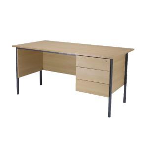Jemini 1500mm 4 Leg Desk with 3 Drawer Pedestal Ferrera Oak KF838378